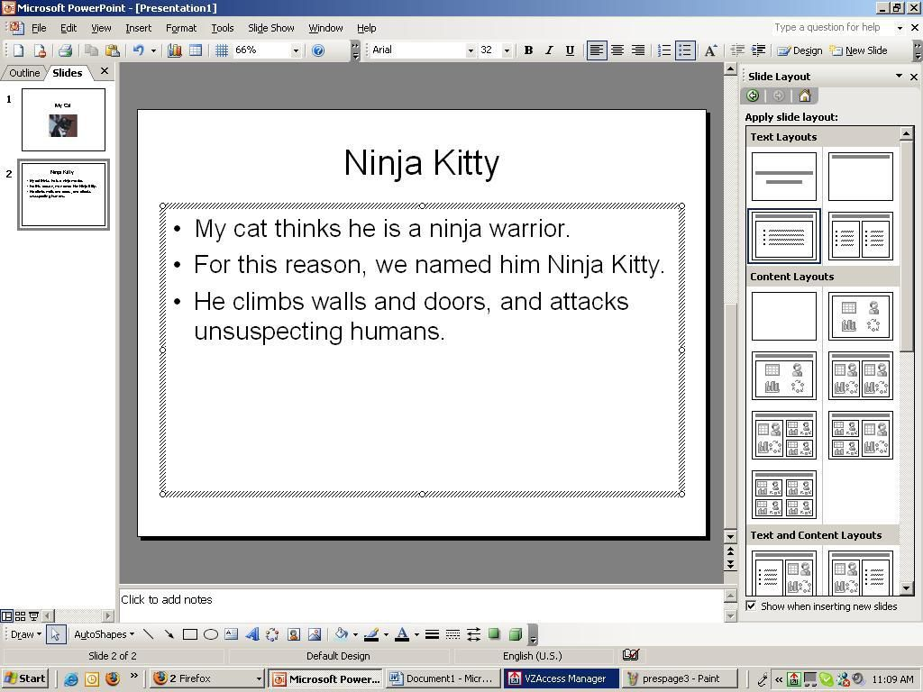 Screenshot of a PowerPoint slide with the title, Ninja Kitty