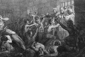 Illustration of British prisoners held in the Black Hole of Calcutta