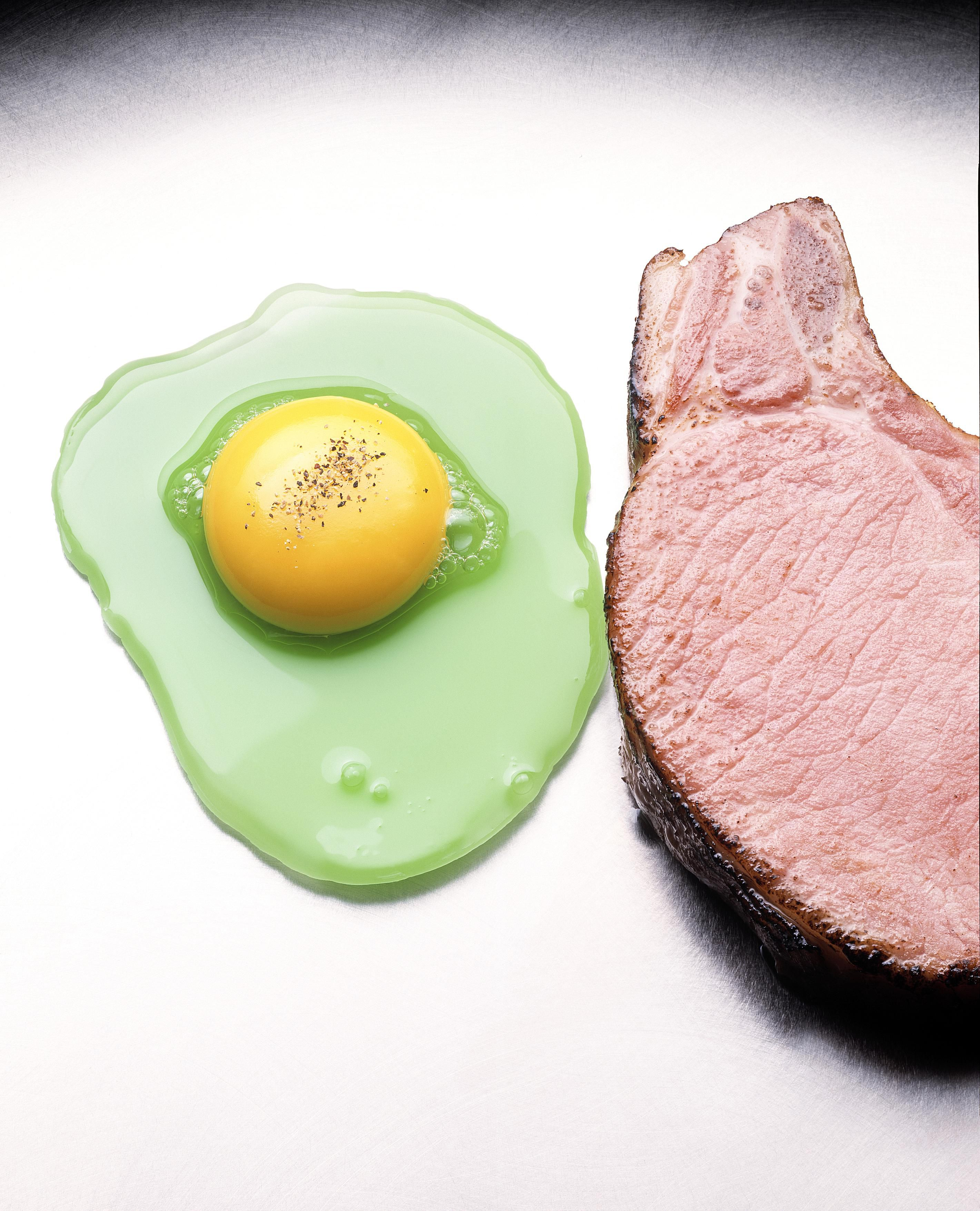 One way to make green eggs is using food coloring, but you can also turn an egg white green using cabbage juice.