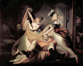"""The Merry Wives of Windsor: """"Falstaff in the Washbasket"""" by Henry Fuseli"""