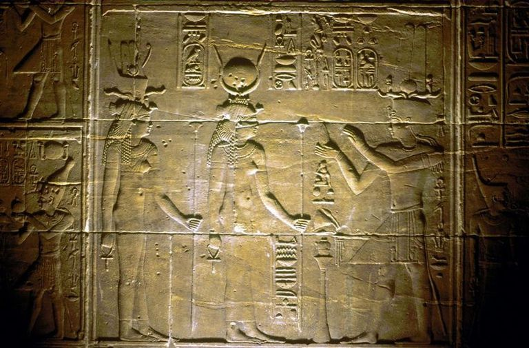 Egyptian Goddess Isis Holding Ankh - Temple of Philae