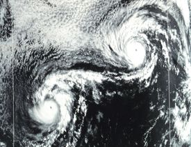 The Fujiwhara Effect Is Seen in the Interaction of Hurricane Ione and Hurricane Kirsten in 1974