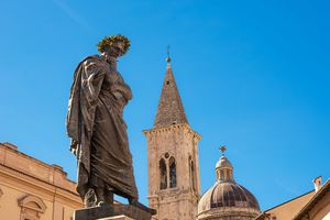 Statue of Ovid, symbol of the city of Sulmona (Italy)