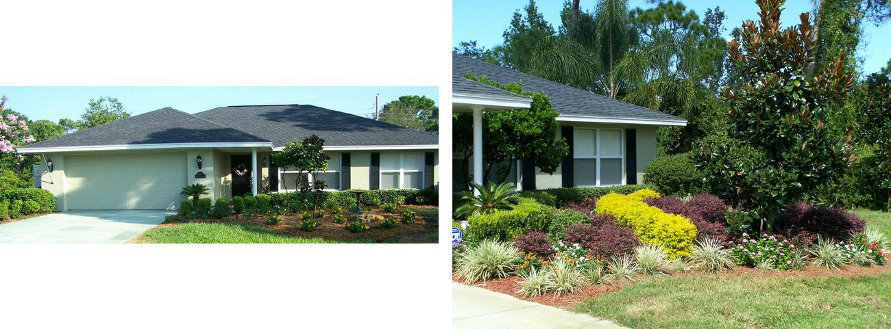 Two Views of a House with a Black Roof and Colorful Landscape