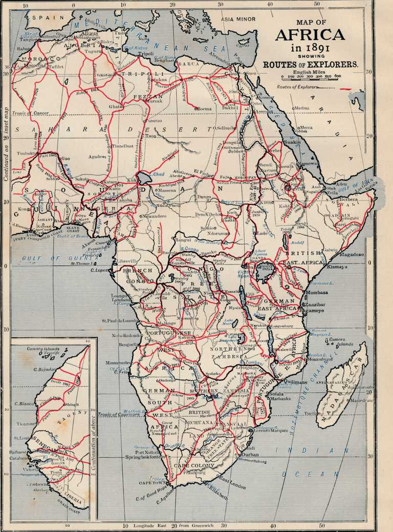 Map Of Africa In 1891 Showing Routes Of Explorers.
