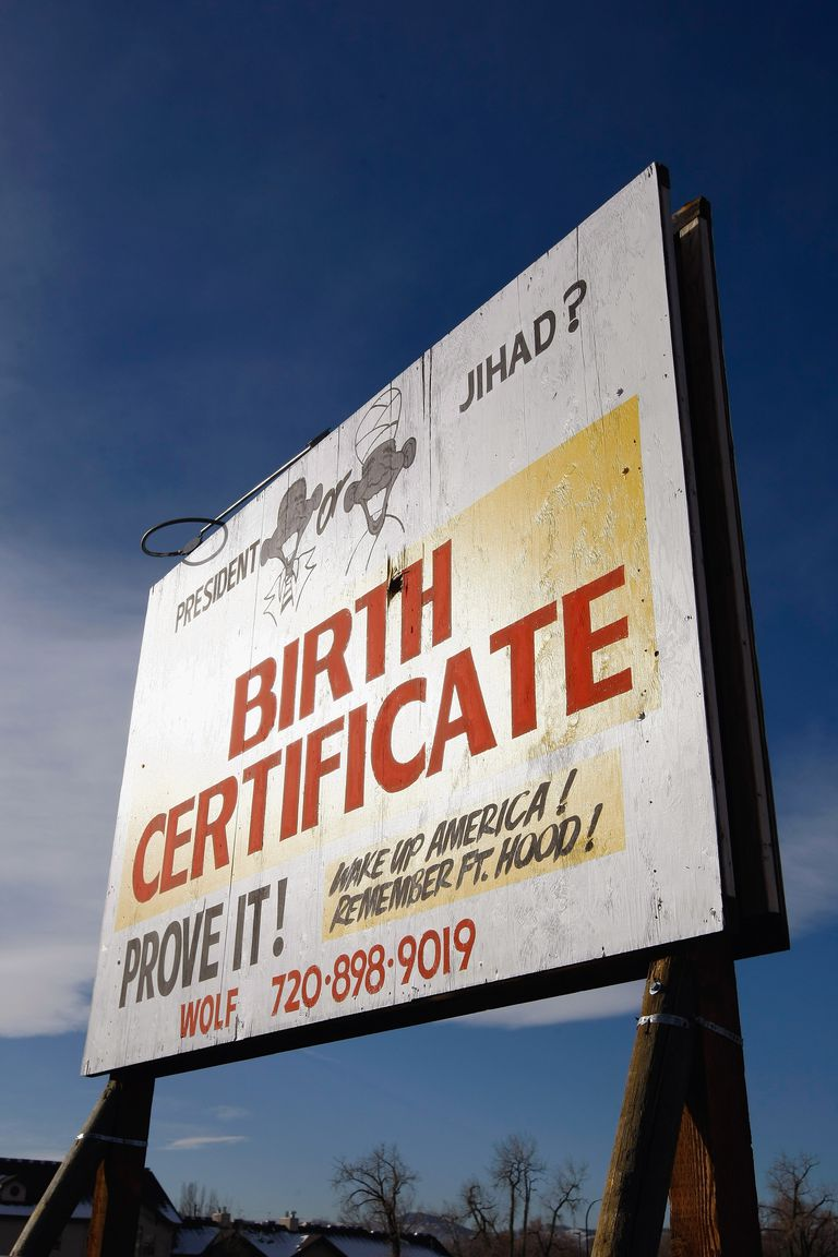 A billboard questioning Obama's birthplace.