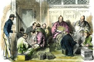 Color sketch depicting Japan in 1863.