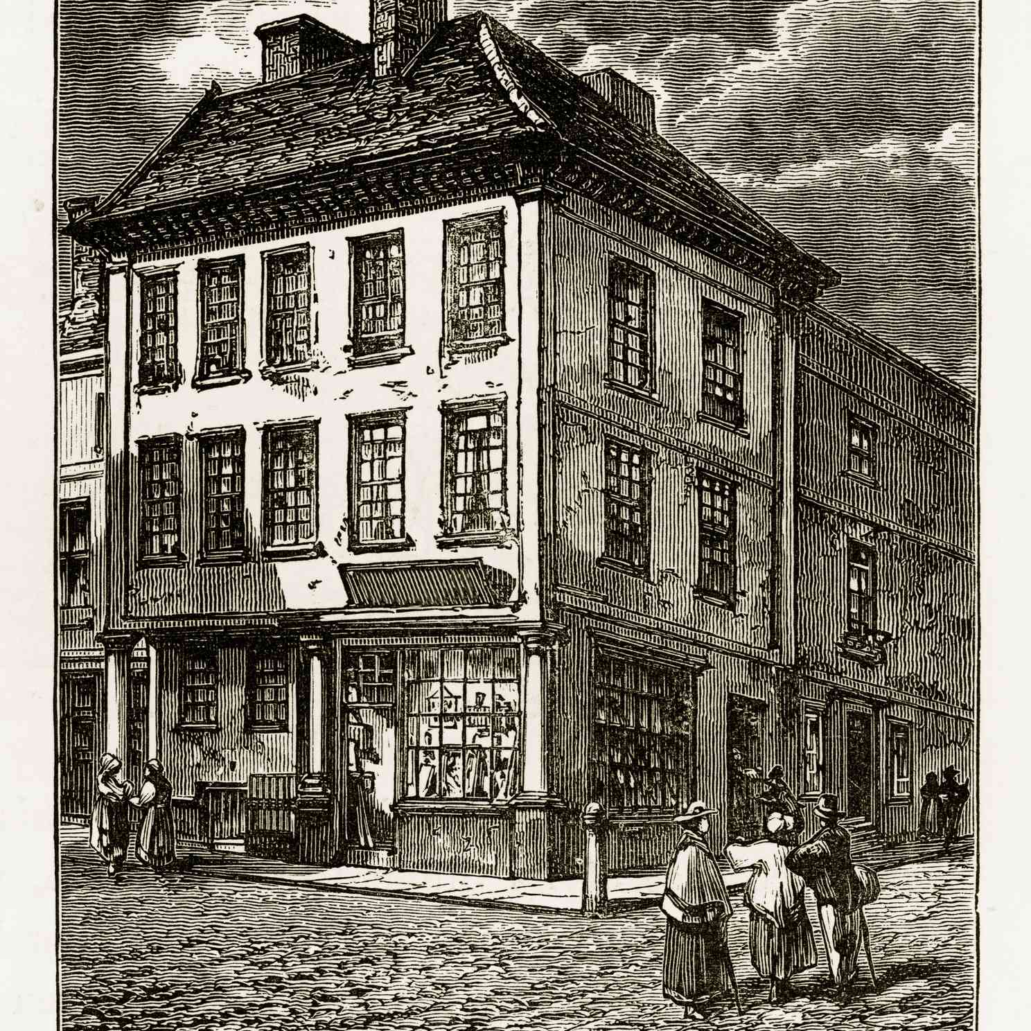 Dr. Johnson Birthplace in Litchfield, Staffordshire, England Victorian Engraving, 1840