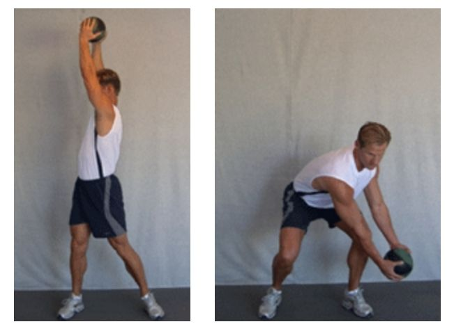 Fitness traininer demonstrates the Downward Wood Chop golf swing training exercise