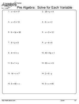 solve for the variable worksheet - Solving For A Variable Worksheet