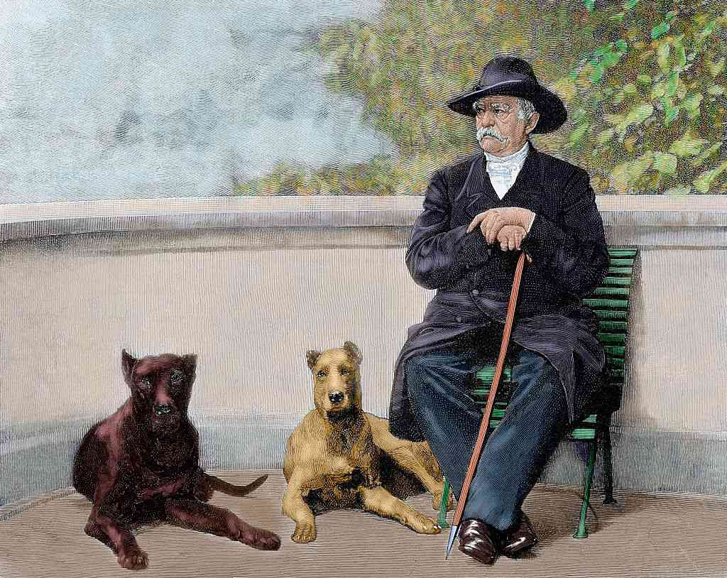 Painting of Bismarck with dogs by Otto-Leopold.
