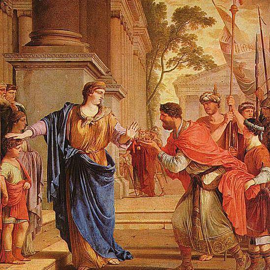 Cornelia schiebt Ptolemäus Krone weg, von Laurent de La Hyre 1646