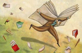 illustration of a man running with a book on his back