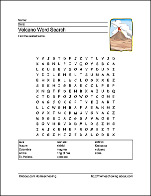 Volcano: Volcano Word Search Answers