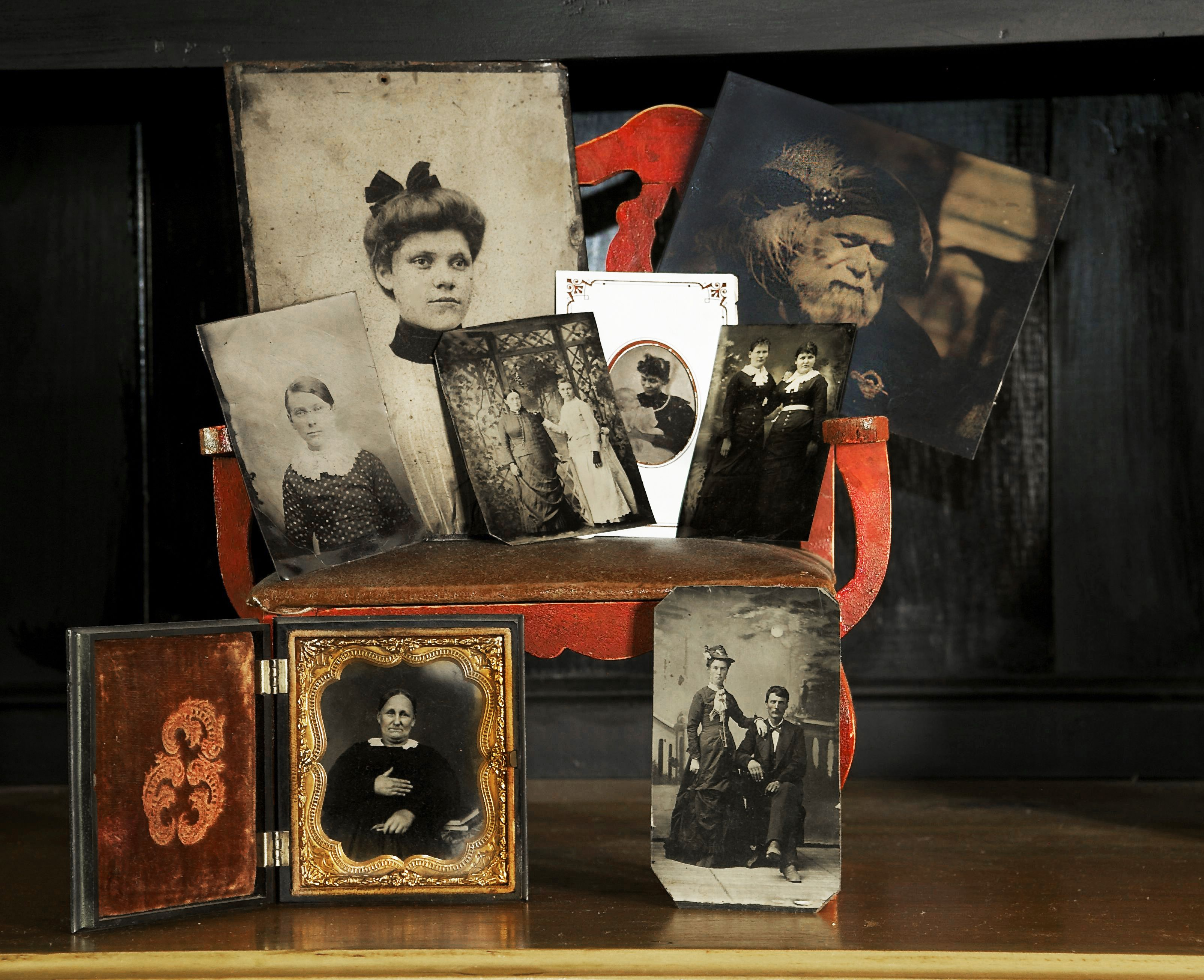 Tintype collection of old family photographs