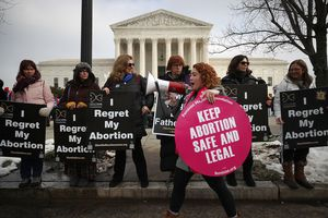 Protesters on both sides of the abortion issue gather