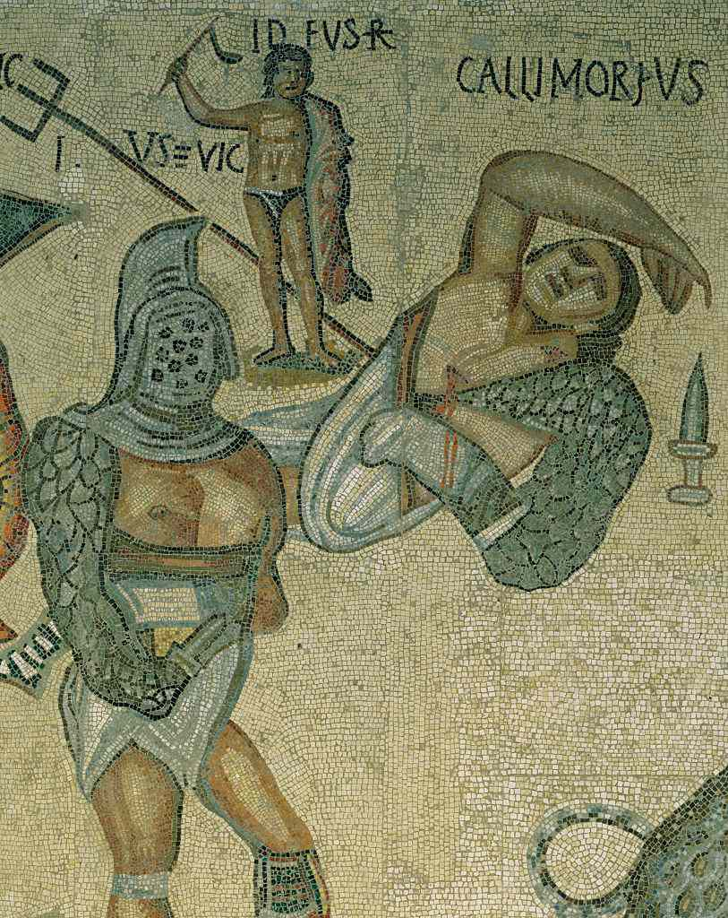 Detail of a Mosaic of Battling Gladiators from Torre Nuova