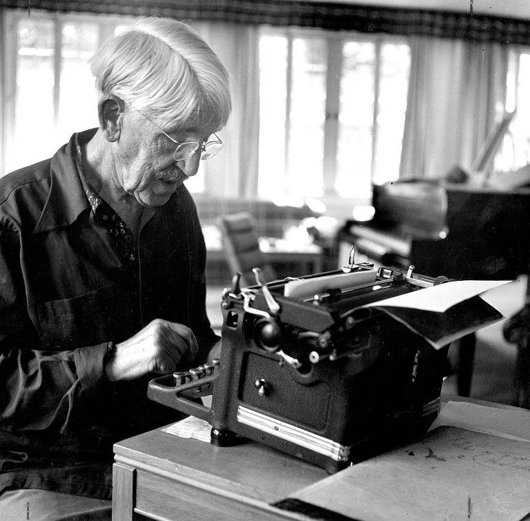 John Dewey at Typewriter