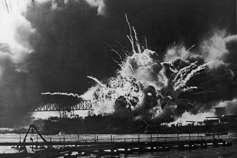 USS Shaw exploding Pearl Harbor