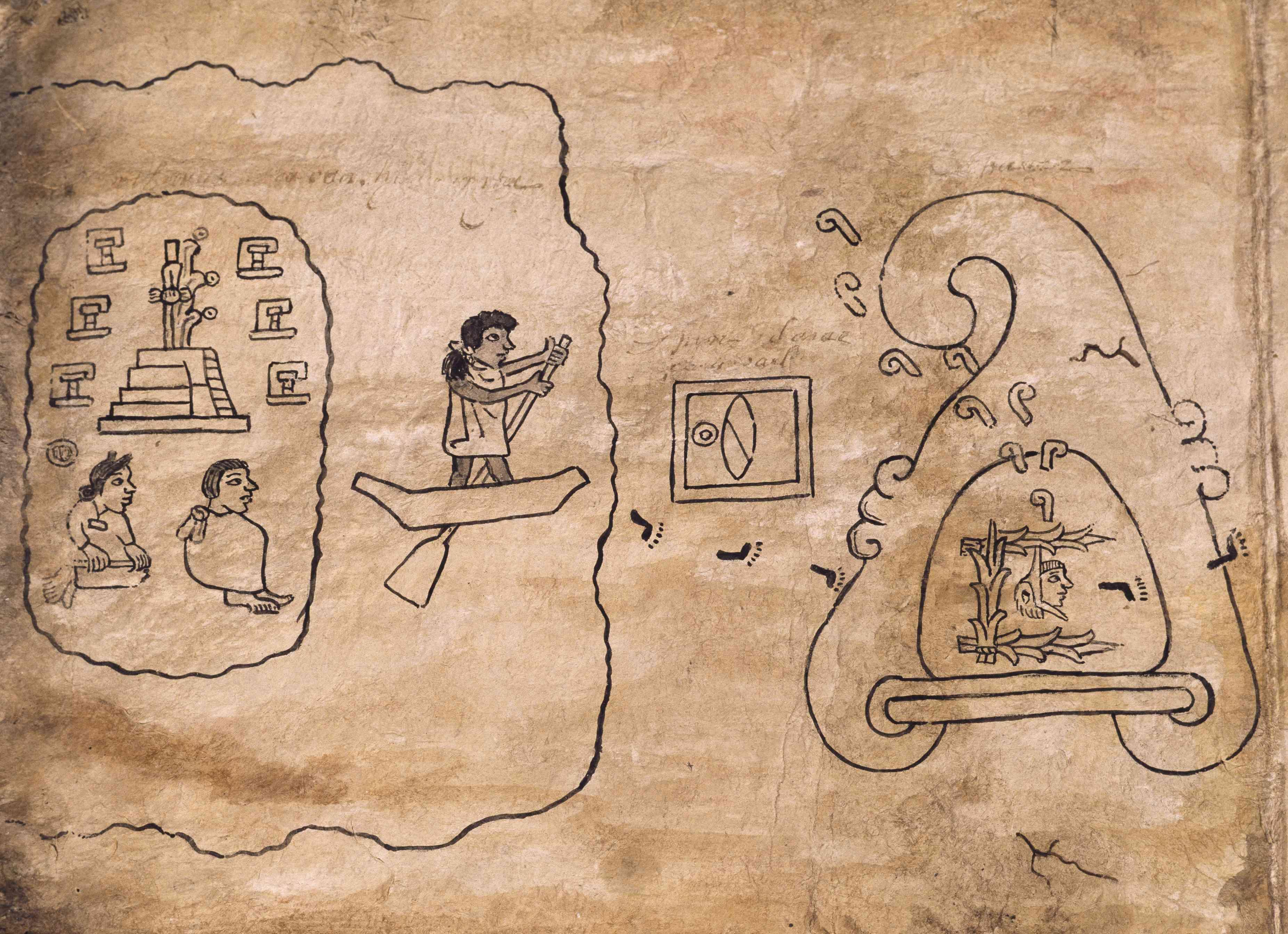 Migration of Aztecs to Tenochtitlan, drawing from Boturini Codex manuscript, Mexico, 16th century
