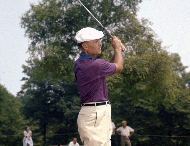 Ben Hogan hitting balls at the 1959 Masters