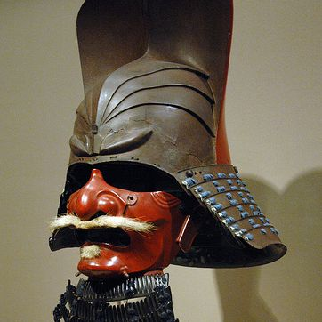 Samurai mask at Asian Art Museum, with neck-guard to prevent decapitation
