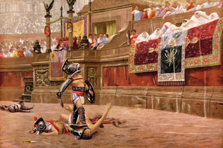 Vintage colour lithograph from 1881 after the painting by Gerome of Gladiators in the ancient Roman Arena