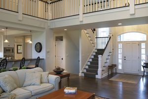 Living Room, Entryway, and Banisters in contemporary home