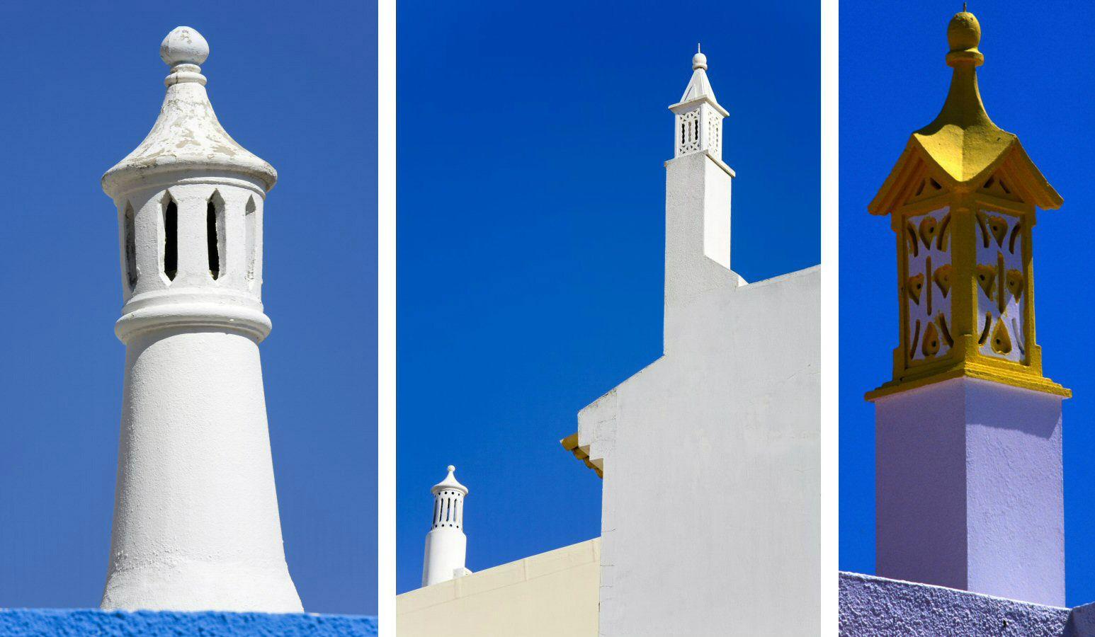 three photos, detailed chimney pots against blue sky