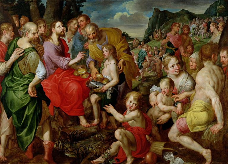 Jesus Christ Feeding The 5000 Bread Loaves Fish Bible Miracle