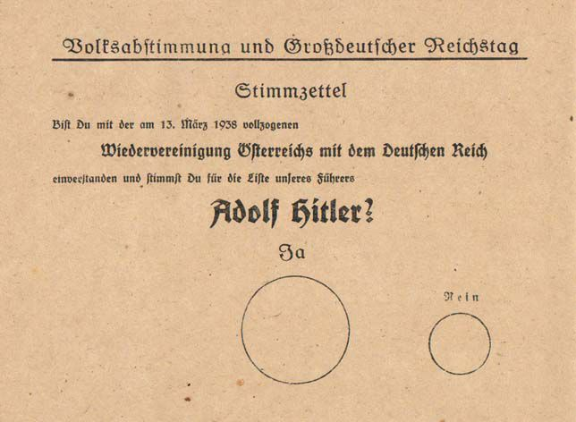 Voting ballot fro Germany, 1938