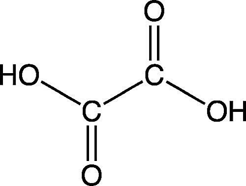 Esta es la estructura química del ácido oxálico.