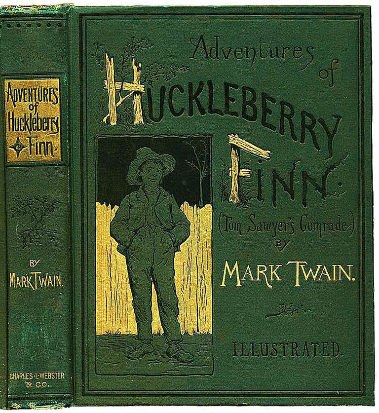 The cover of Huckleberry Finn by Mark Twain