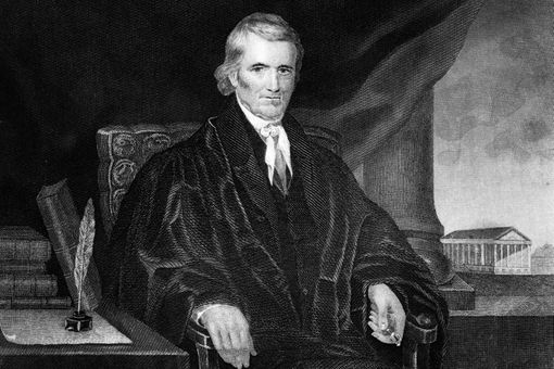 Engraved portrait of Chief Justice John Marshall