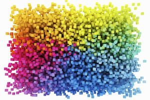 A collage of different colored cubes.