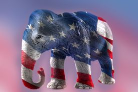 The Republican elephant and the american flag