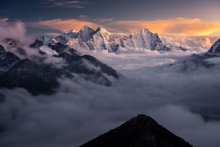 Himalaya mountains landscape from Kalapattar view point at sunset