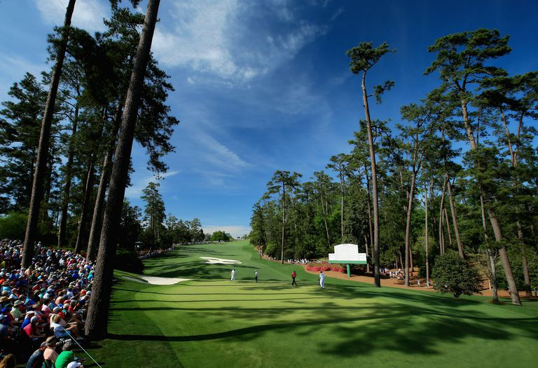 The green back down the 10th hole at Augusta National