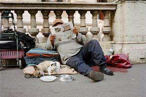 homeless man in street