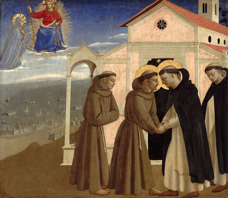 Meeting of Saint Francis and Saint Dominic (Scenes from the life of Saint Francis of Assisi), ca 142 Artist: Angelico, Fra Giovanni, da Fiesole (ca