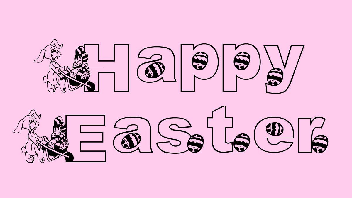 Happy Easter typed in KG Hippity Hop font