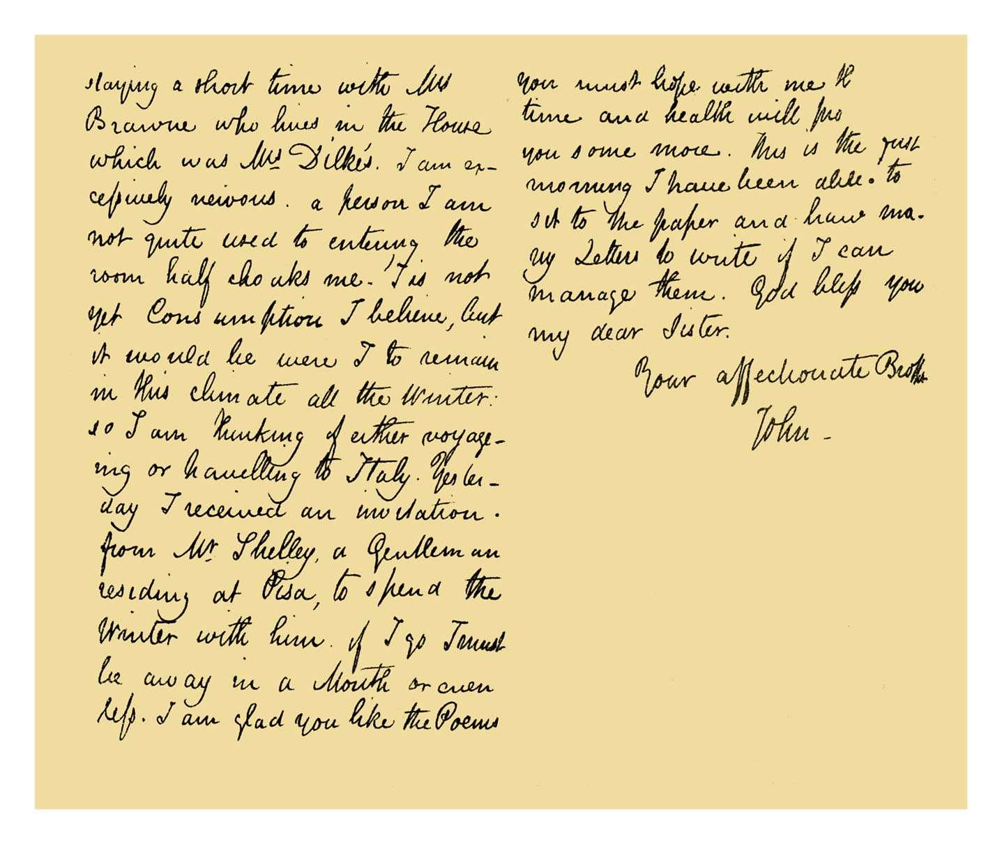 Autograph: John Keats, 1820.