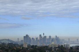 A layer of haze covers the Sydney, Australia skyline
