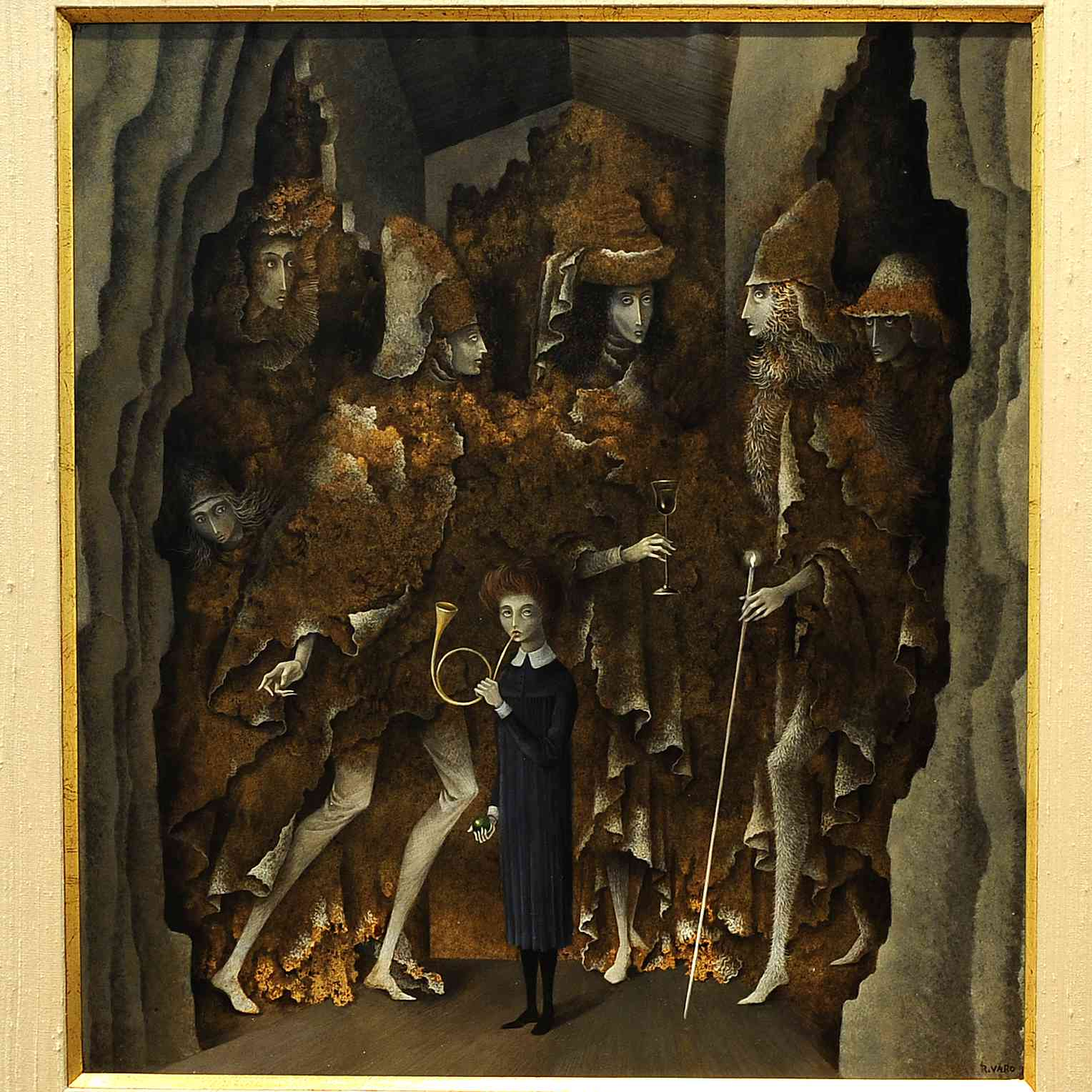 A woman stands in a black collared dress blowing on a horn as six figures emerge from caves behind her