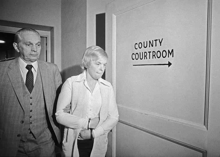 Marybeth Tinning is led by sheriff Barney Waldron to the Schenectady County courtroom