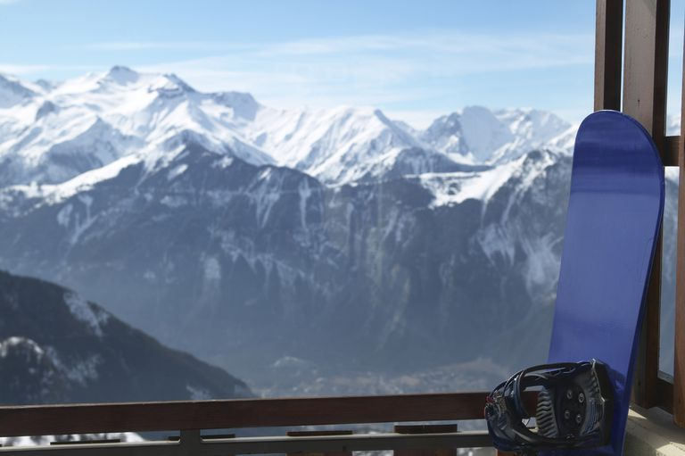 France, Isere, Alpe d' Huez, snowboard on balcony