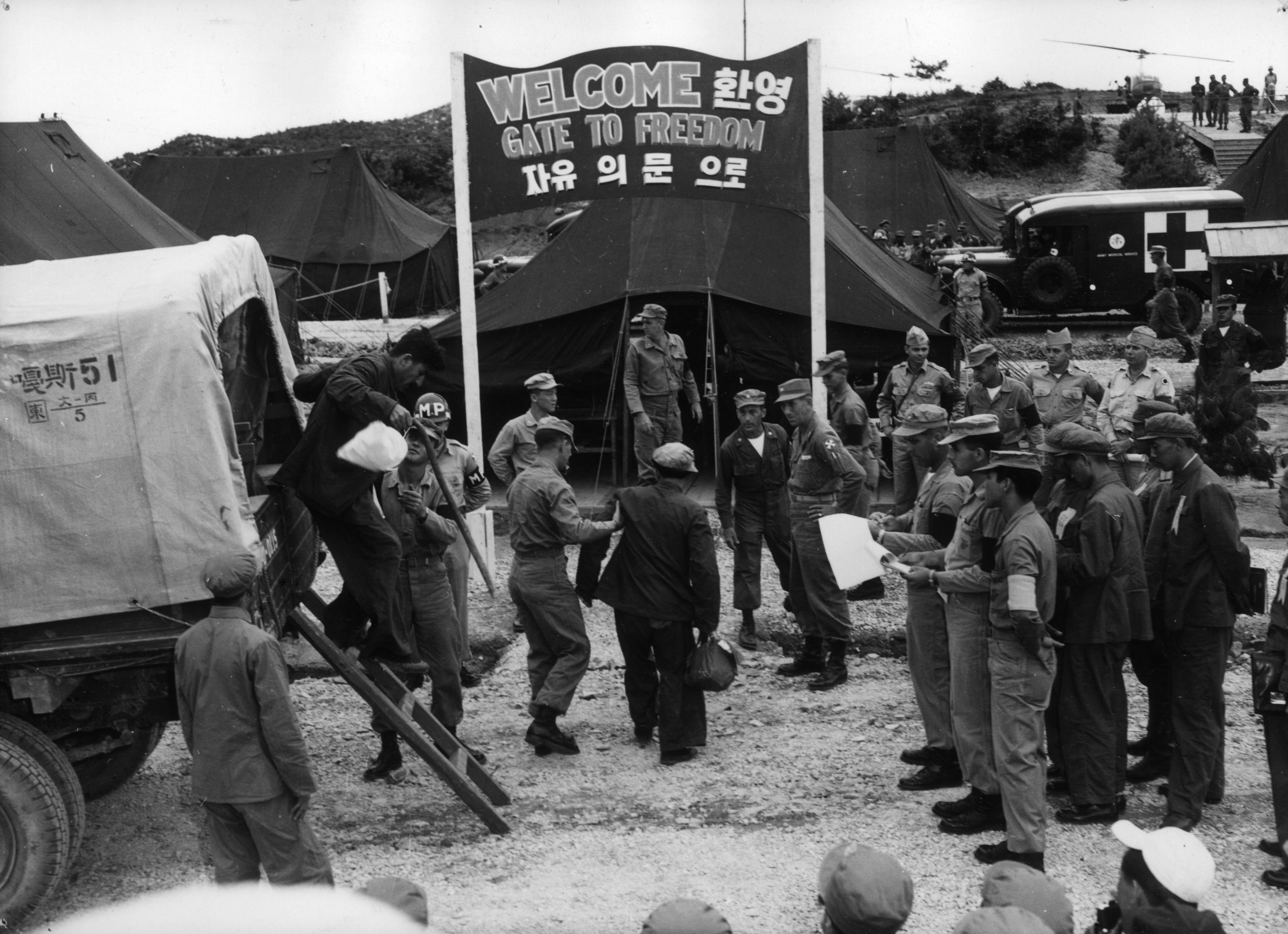 11th August 1953: An exchange of prisoners between the United Nations and the Communists at Panmunjom, Korea.