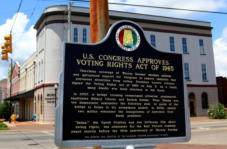 A historic marker in Selma, Alabama, commemorating the enactent of the Voting Rights Act of 1965.