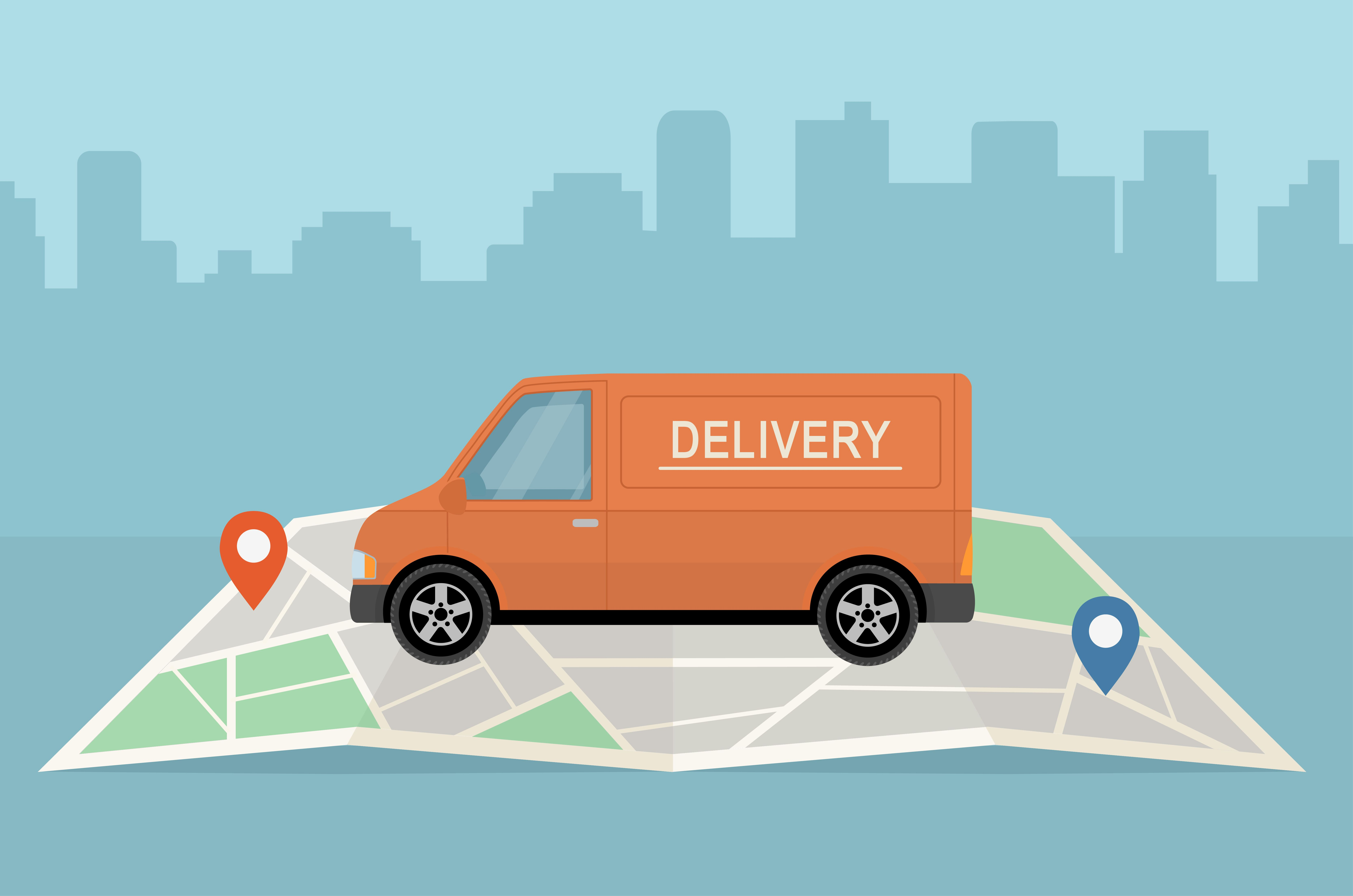 Delivery van and map on city background. Transport services, logistics and freight of goods concept.