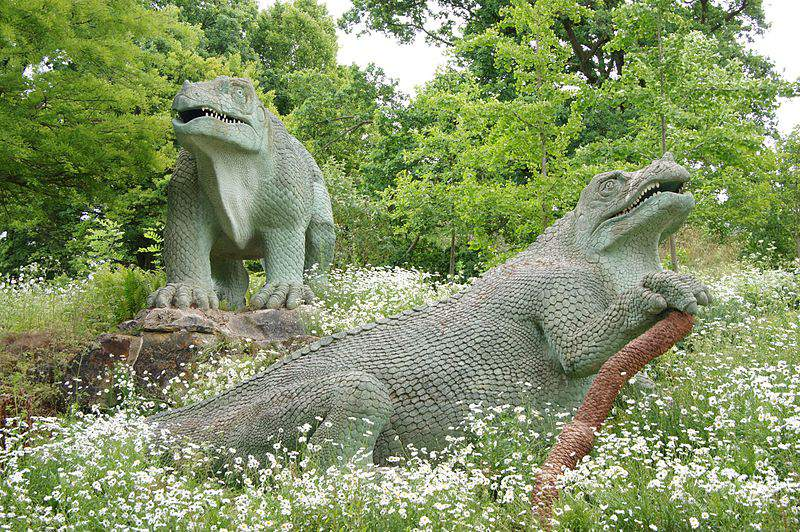 Iguanodon statues exhibit at the Crystal Palace.